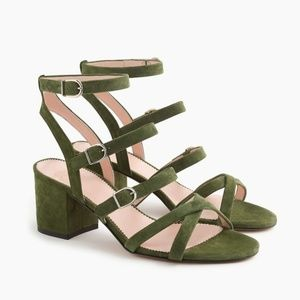 J.Crew Buckled midheel sandals in frosty olive sue